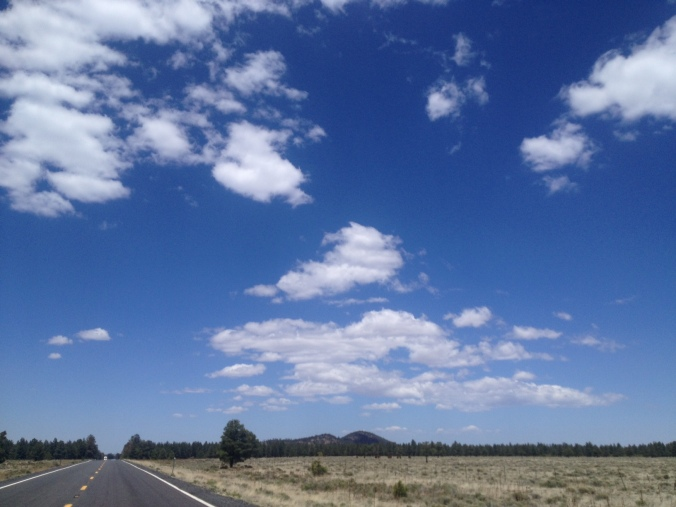 Driving toward Grand Canyon National Park from Flagstaff