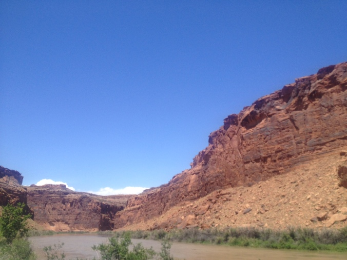 Driving into Moab, Utah via the Upper Colorado River Scenic Byway.