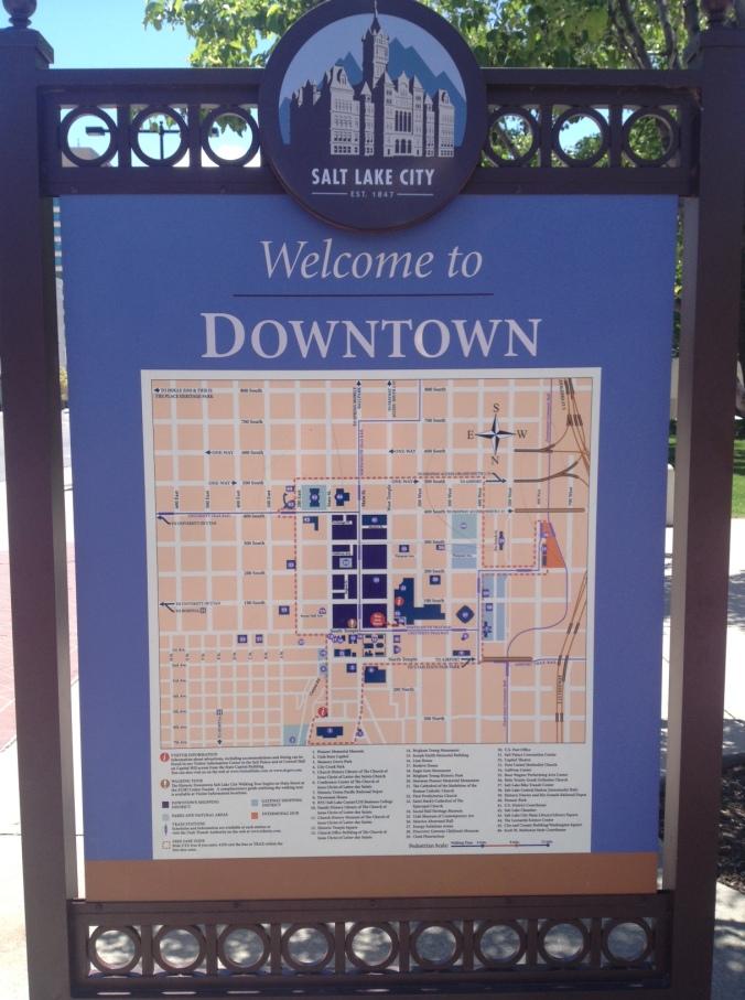 Map of Downtown Salt Late City, Utah