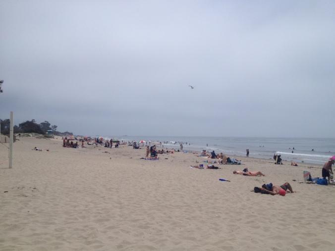 Carpinteria State Beach, on a morning when the marine layer hadn't quite yet worn off.