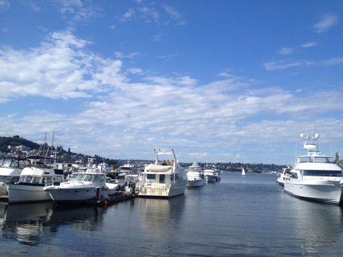 Boats on South Lake Union, near iconic restaurant Duke's Chowder House (there's a lot of chowder in Seattle).