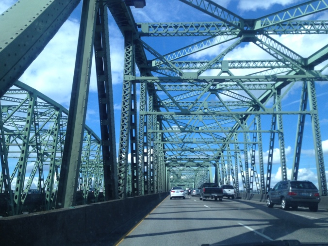 Entering Washington state via the bridge that connects Portland, OR to Vancouver, WA, two cities divided by the Columbia River