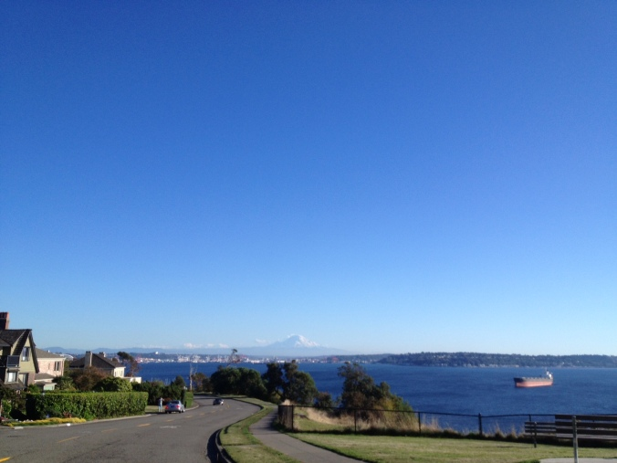 The neighborhood of Magnolia, location of Discovery Park, looks out over the Puget Sound and south toward Mt. Rainier